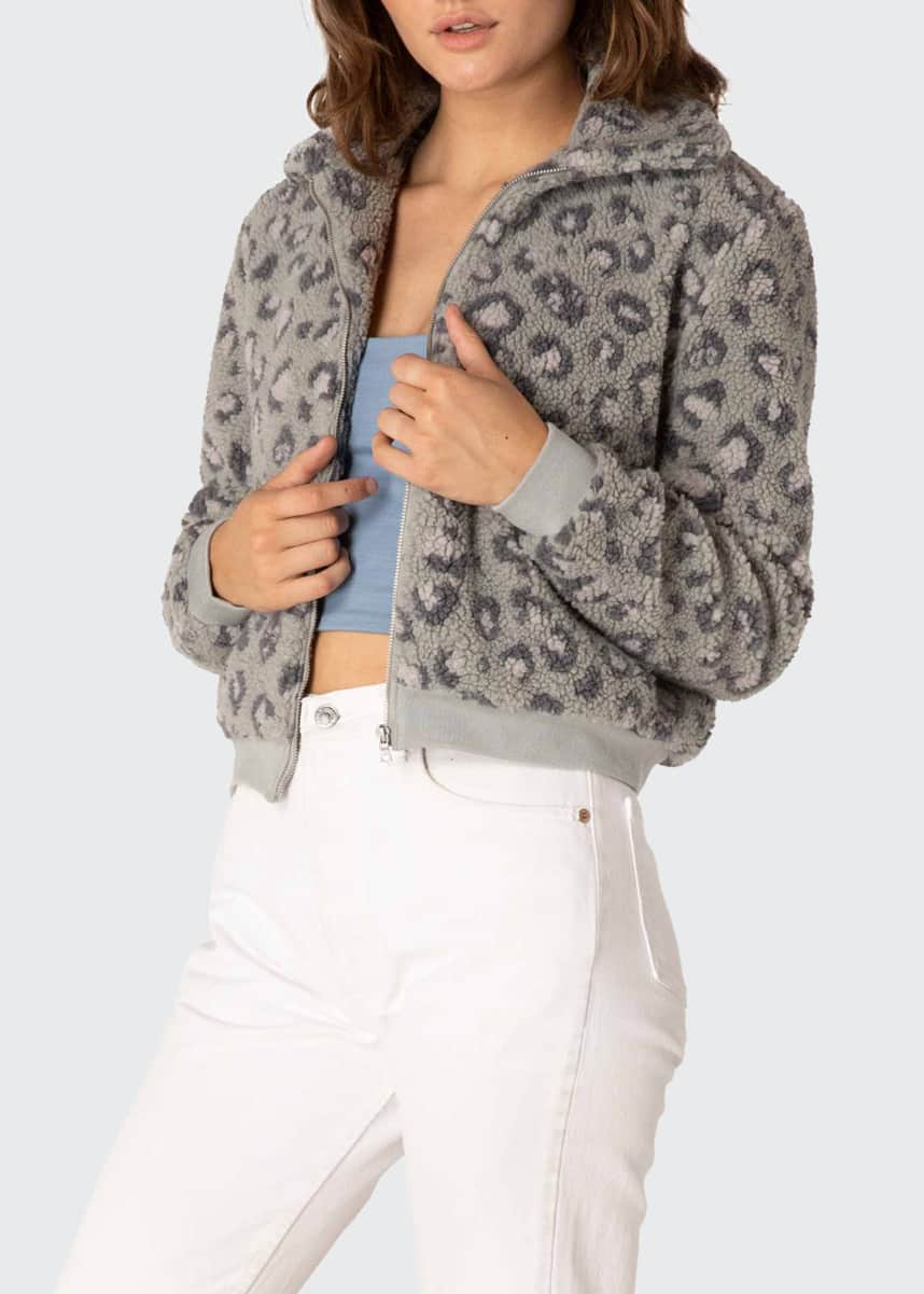 Beyond Yoga Leopard Sharp Bomber Jacket
