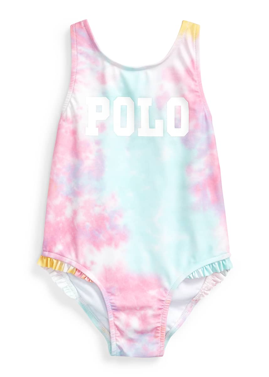 Ralph Lauren Childrenswear Girl's Tie-Dye Printed One-Piece Swimsuit, Size 9-24 Months
