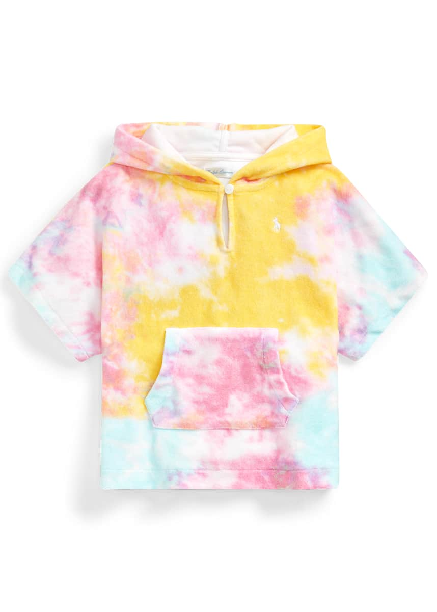 Ralph Lauren Childrenswear Girl's Tie-Dye Printed Terry Towel Hooded Coverup, Size 9-24 Months