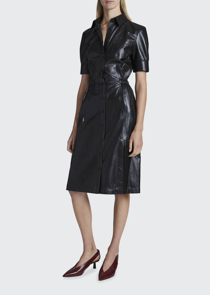 Altuzarra Kura Leather Midi Shirtdress