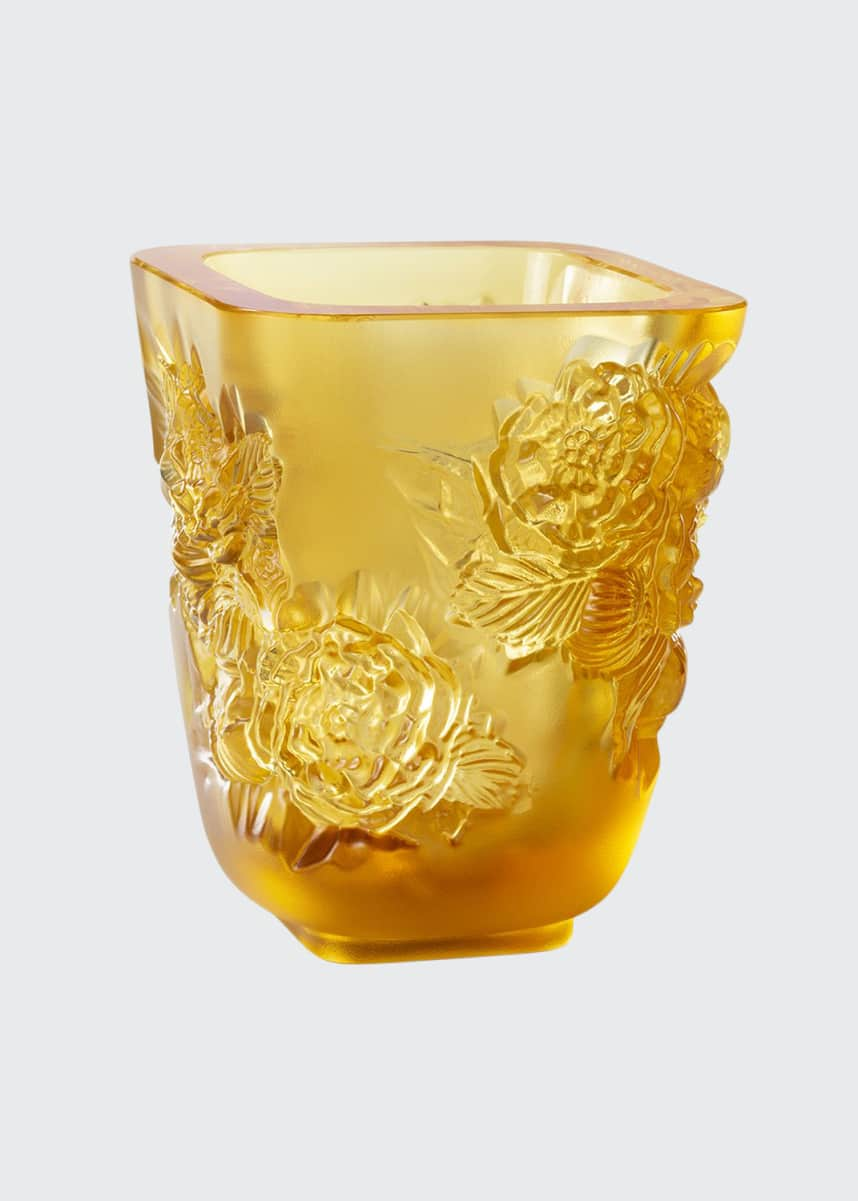 Lalique Amber Pivoines Small Vase