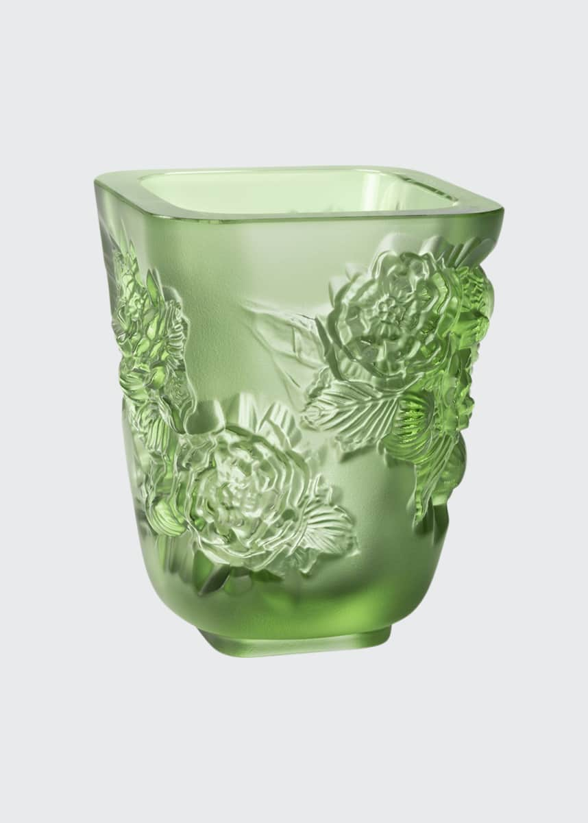 Lalique Green Pivoines Small Vase