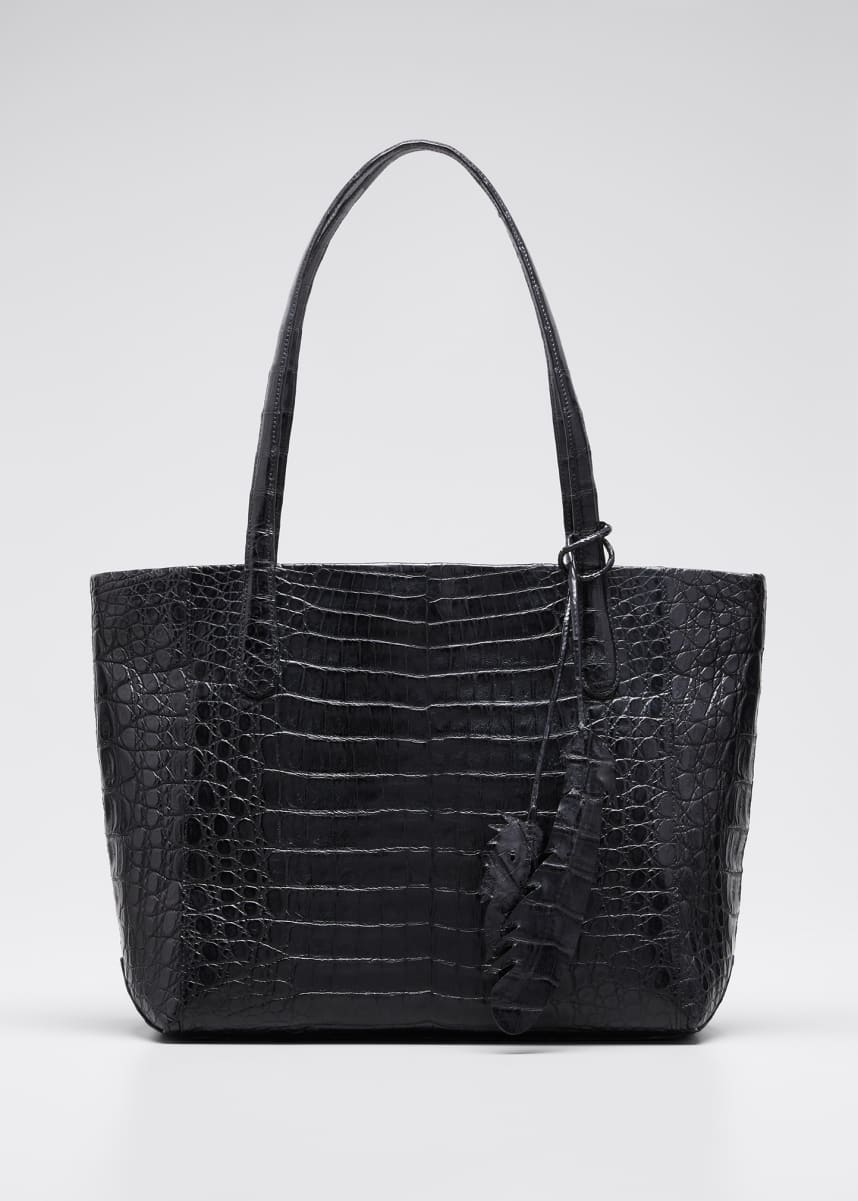 Nancy Gonzalez Erica Small Crocodile Zip-Top Leaf Tote Bag