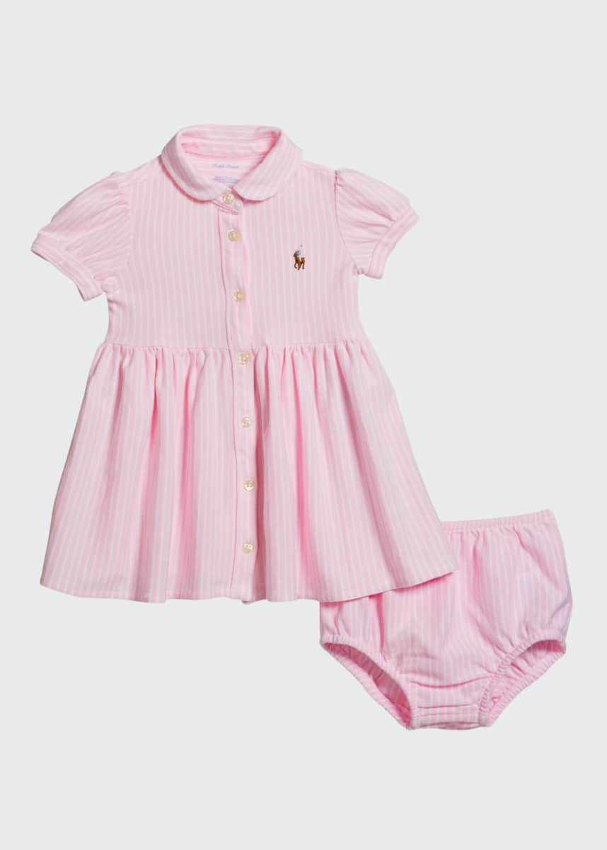 Ralph Lauren Childrenswear Yarn-Dyed Oxford Mesh Stripe Dress w/ Matching Bloomers, Size 6-24 Months
