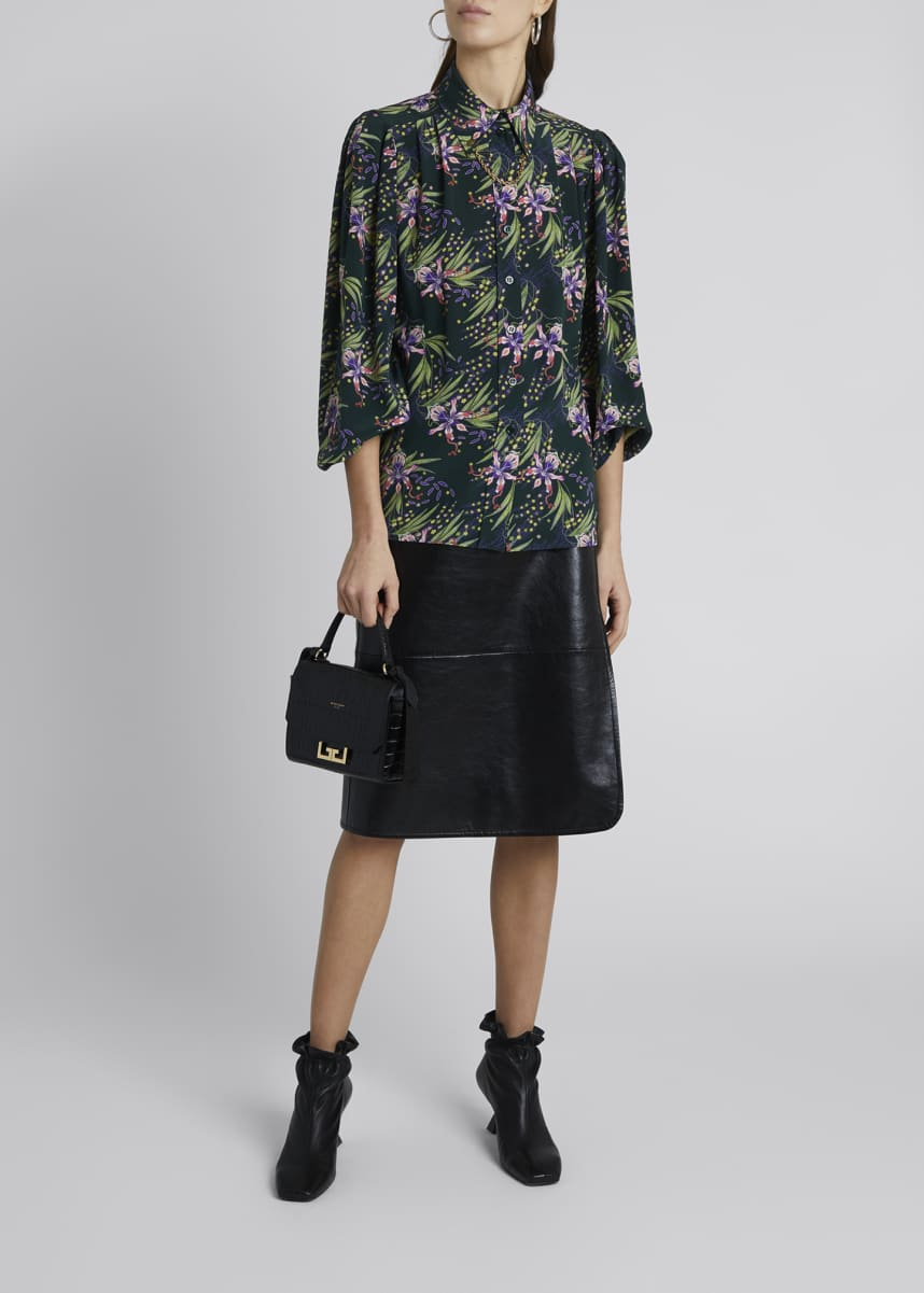 Givenchy Floral Silk Puff-Sleeve Blouse