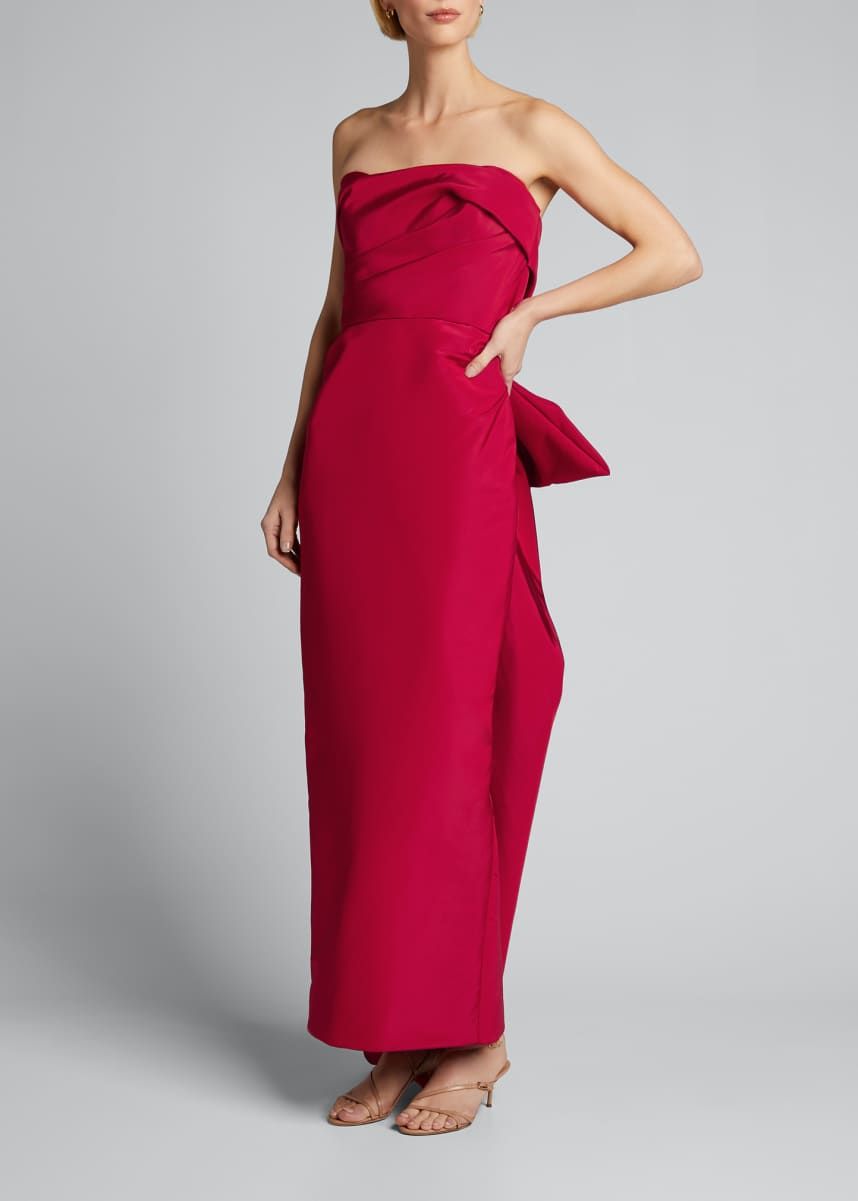 Marchesa Strapless Satin Bowed-Back Column Gown