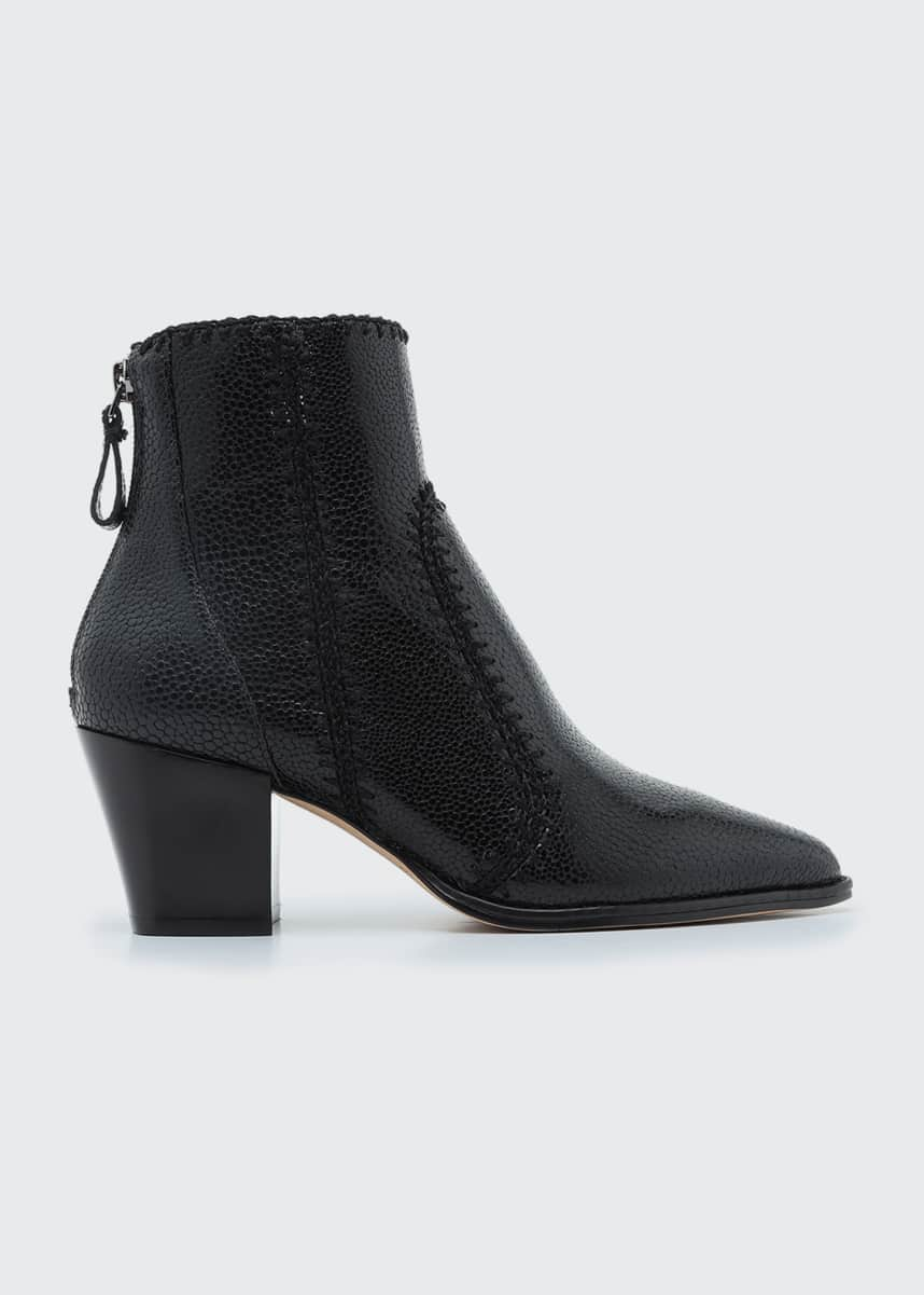 Alexandre Birman Benta Stitched Embossed Leather Booties