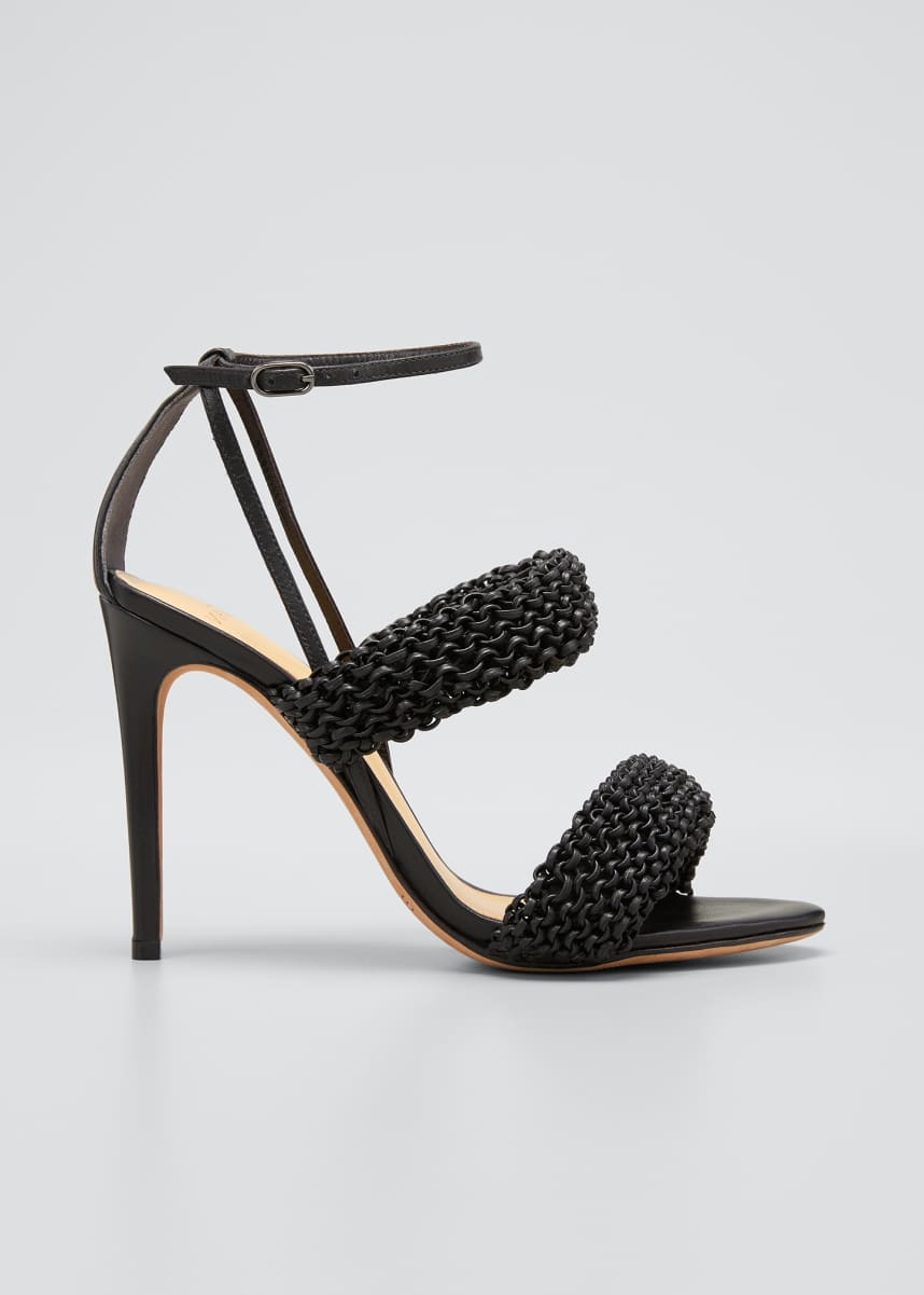 Alexandre Birman 100mm Alessia Knitted Leather Stiletto Sandals
