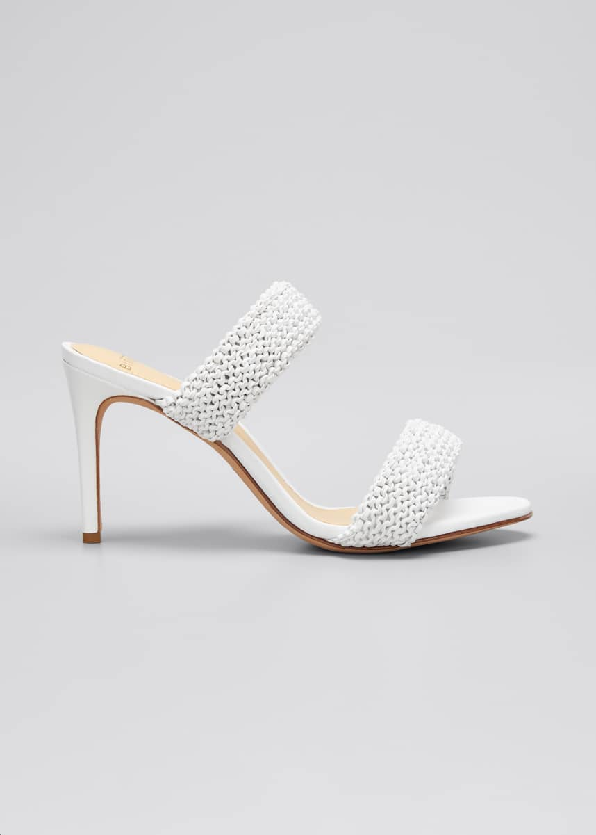 Alexandre Birman Alessia 85mm Knitted Leather Slide Sandals