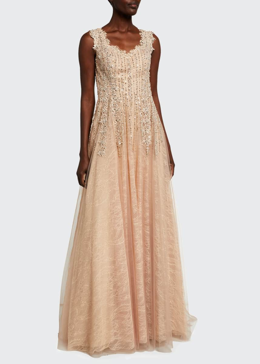 Rickie Freeman for Teri Jon 3D Embroidered Cap-Sleeve Gown