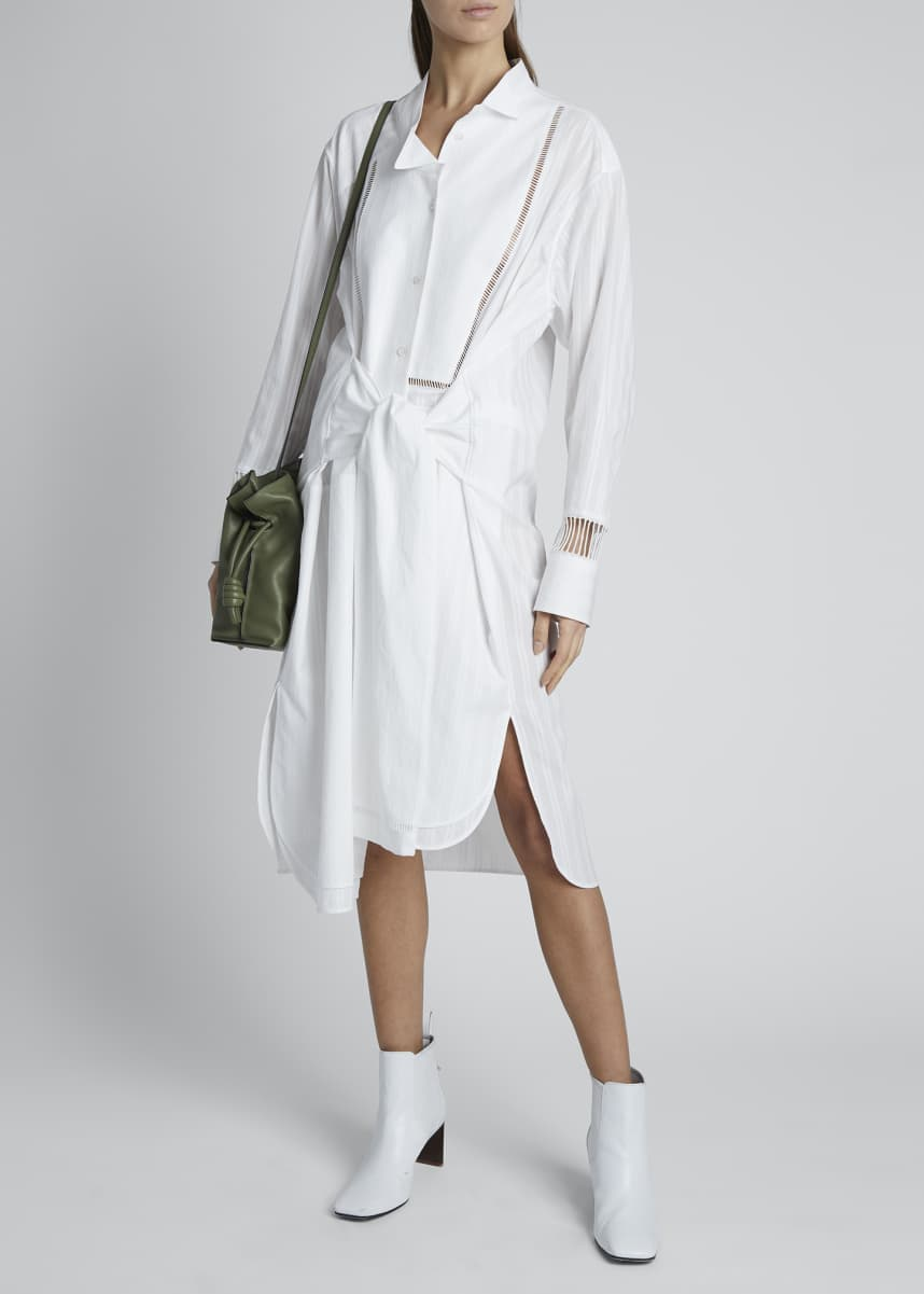 Loewe Tie-Front Midi Shirt Dress with Embroidery