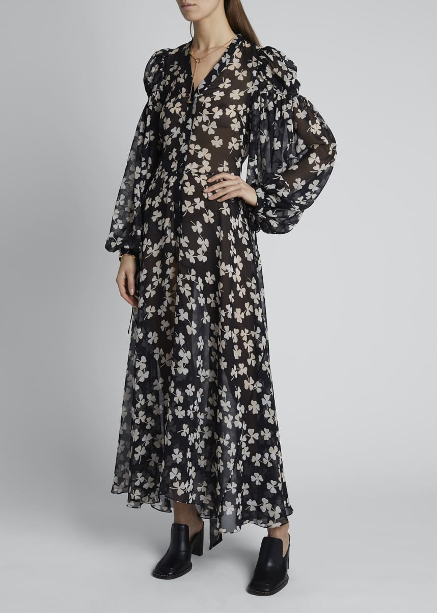 Loewe Shamrock Chiffon Puff-Sleeve V-Neck Maxi Dress