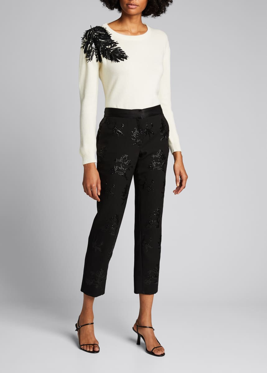 Prabal Gurung Palm Applique Crewneck Cashmere Sweater