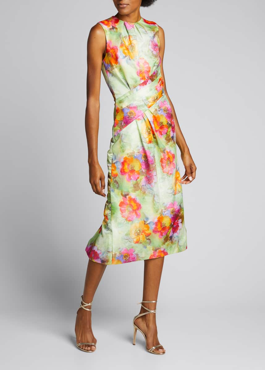 Prabal Gurung Floral Print Front Drape Dress