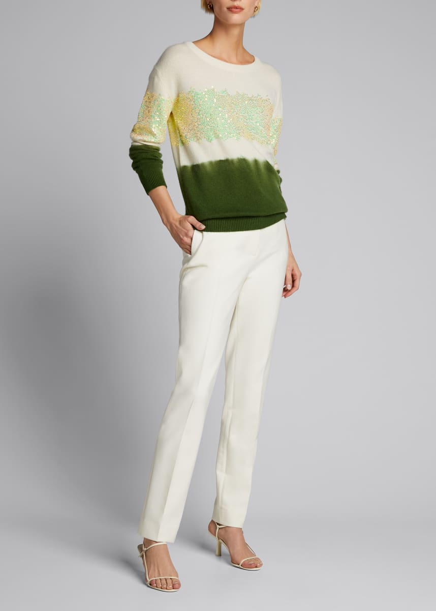 Prabal Gurung Crewneck Sequin-Embellished Cashmere Sweater