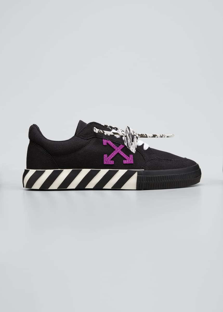 Off-White Men's Arrow Vulcanized Canavs Sneakers, Black/Purple