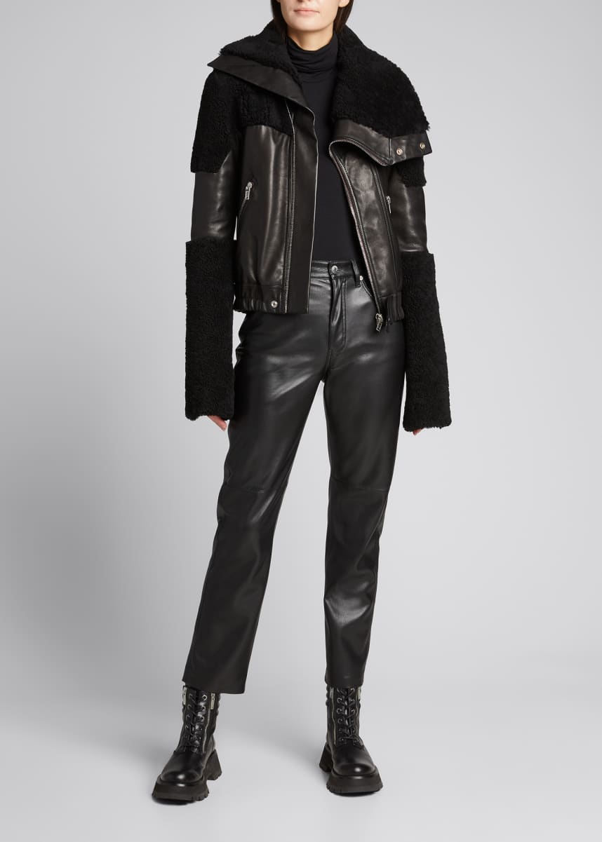 Rick Owens Shearling & Leather Combo Moto Jacket