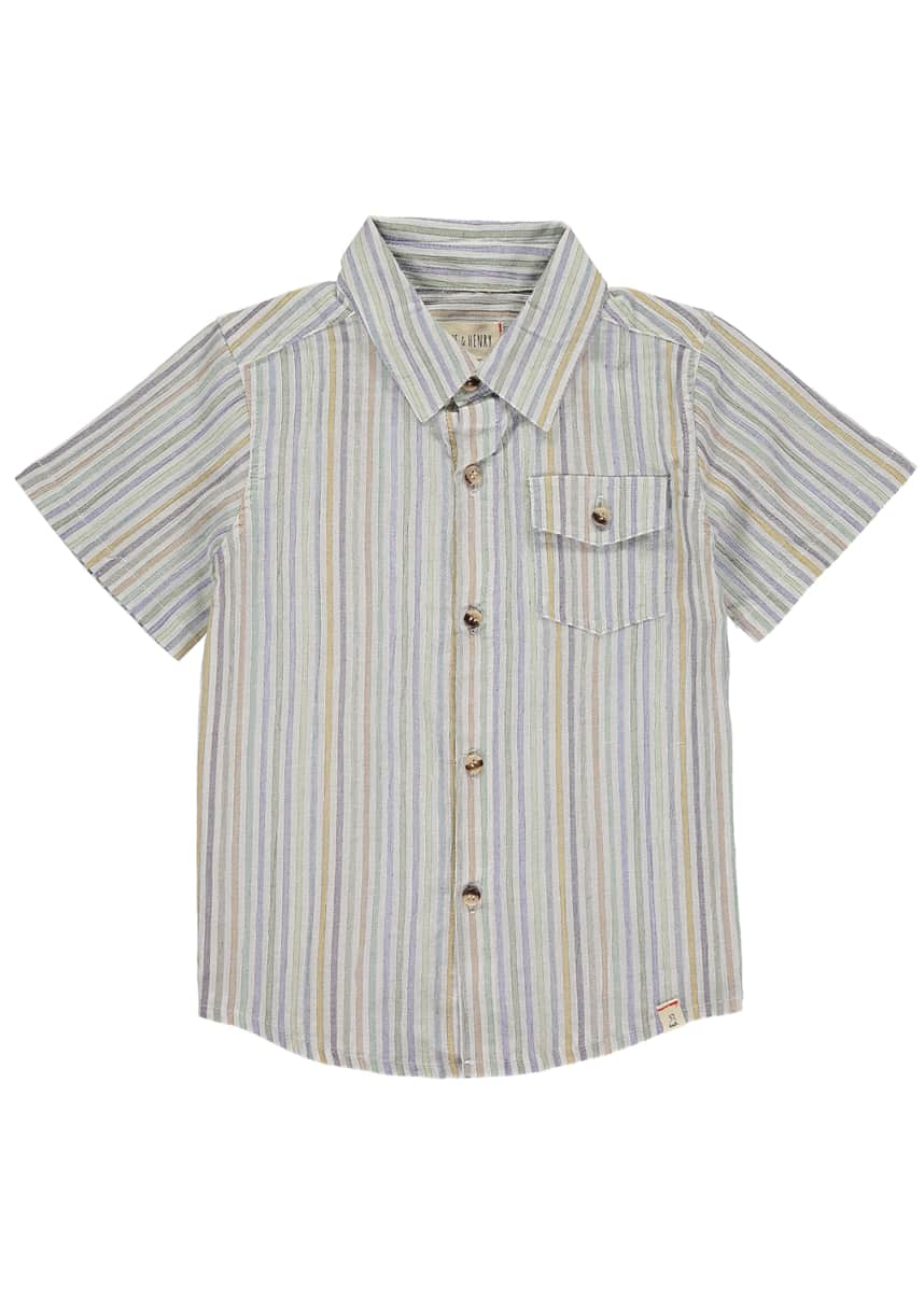 Me & Henry Boy's Multi-Stripe Button-Down Shirt w/ Children's Book, Size 3T-10
