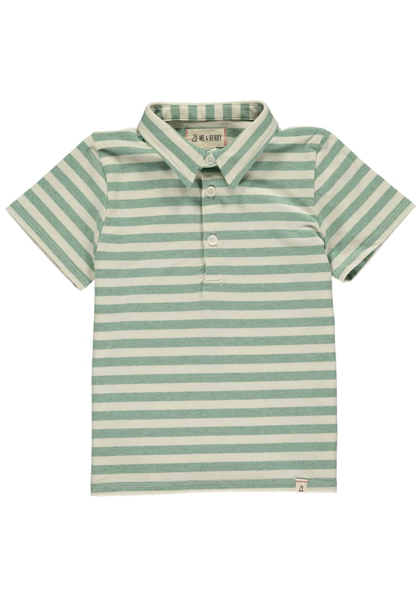 Me & Henry Boy's Striped Polo Shirt w/ Children's Book, Size 3T-10