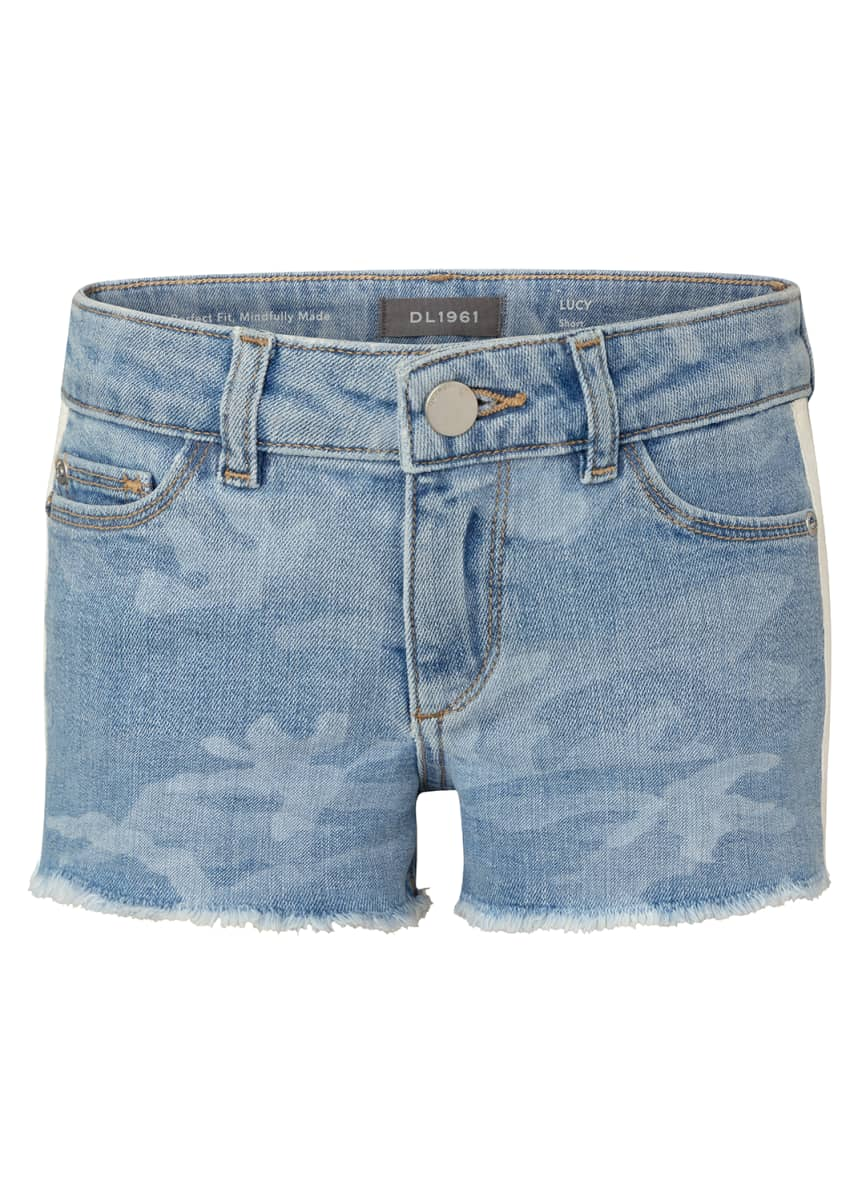 DL1961 Premium Denim Girl's Lucy Camo Cutoff Shorts, Size 7-16