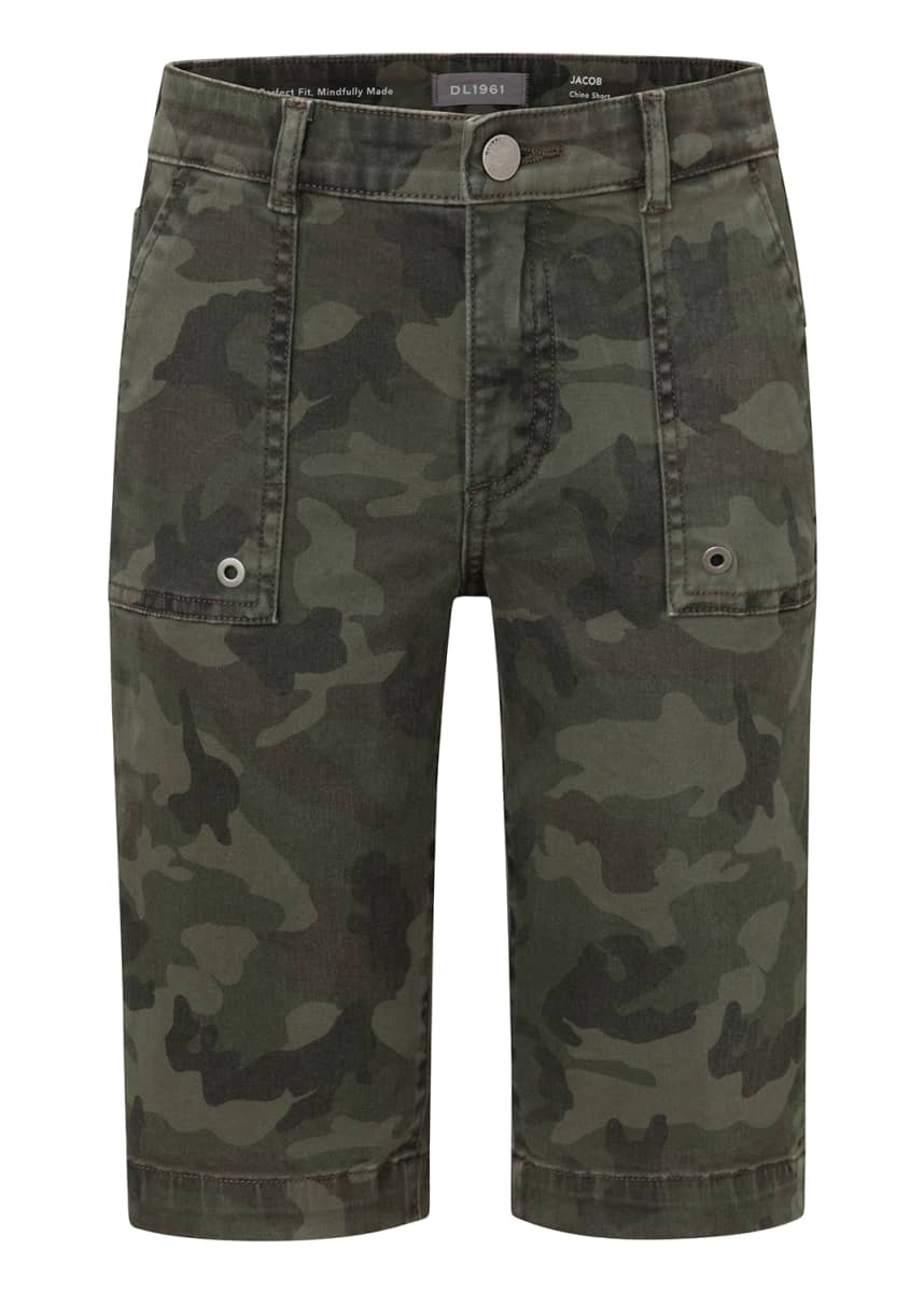 DL1961 Premium Denim Boy's Jacob Camo Twill Chino Shorts, Size 8-14