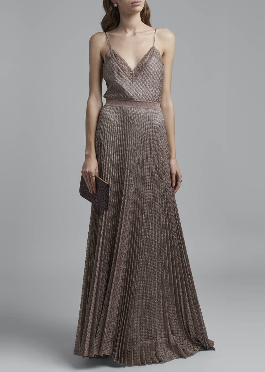 Missoni Lace-Trim V-Neck Textured Maxi Dress