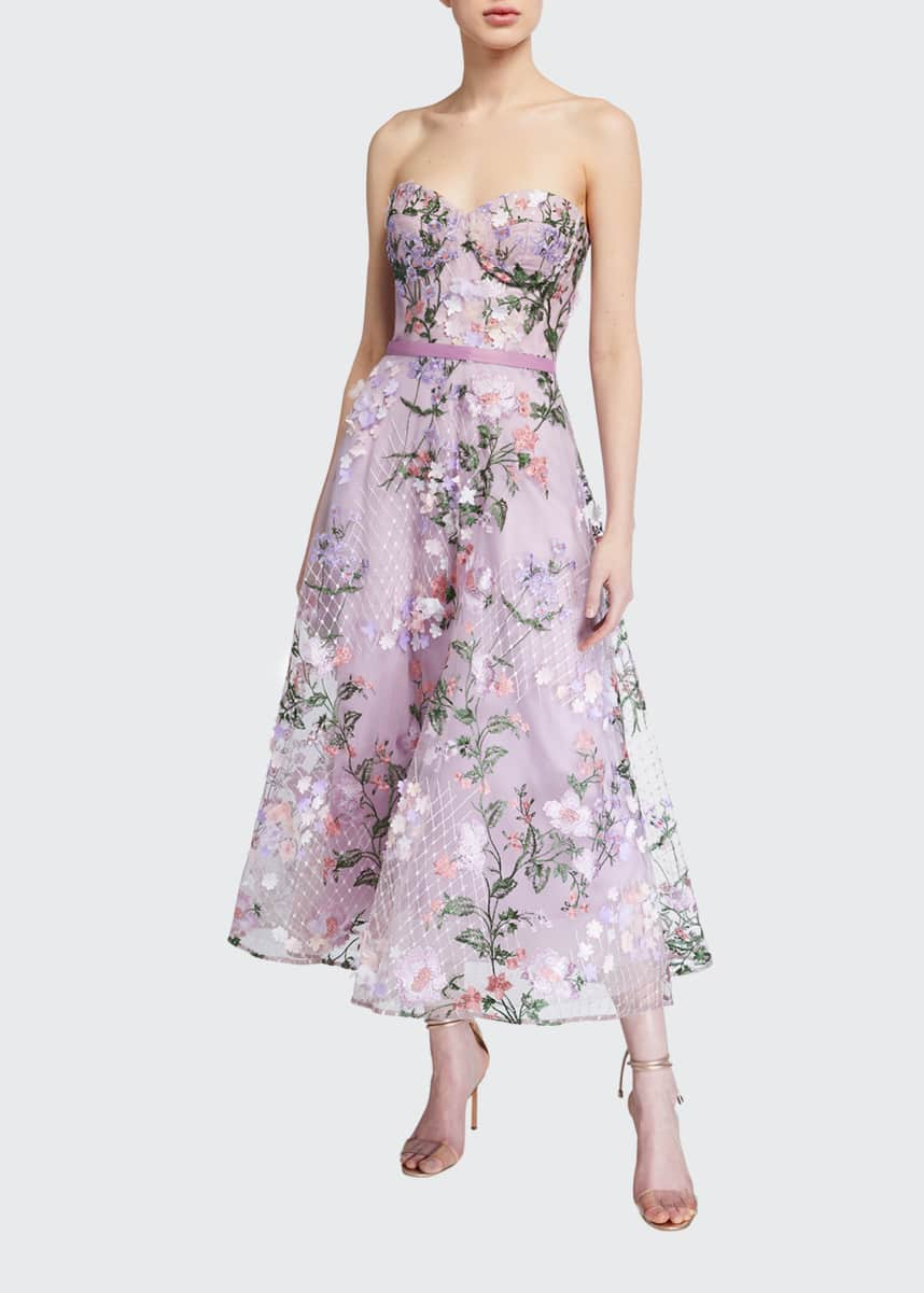 Marchesa Notte Strapless Sweetheart Lattice Embroidered Dress w/ 3D Flowers