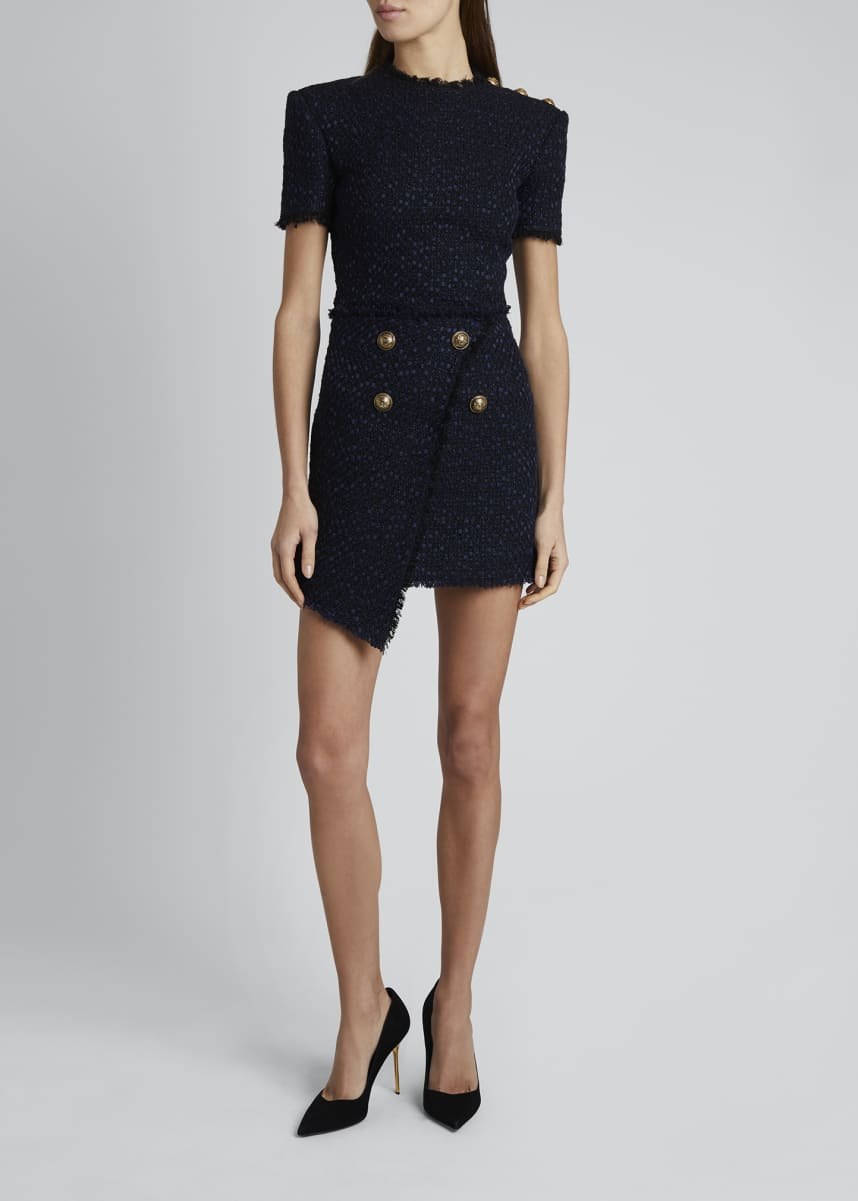 Balmain Asymmetric Tweed Wrap Skirt