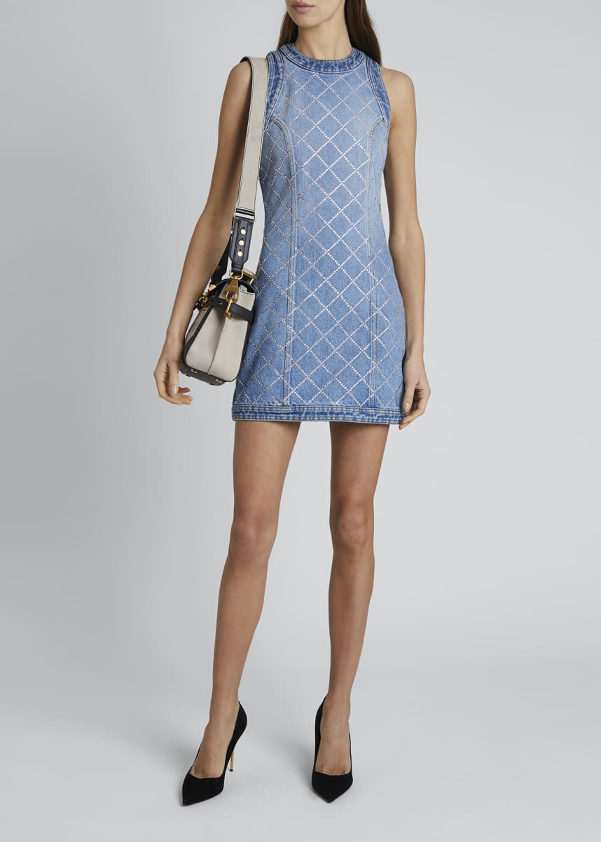 Balmain Crystal-Grid Denim Dress