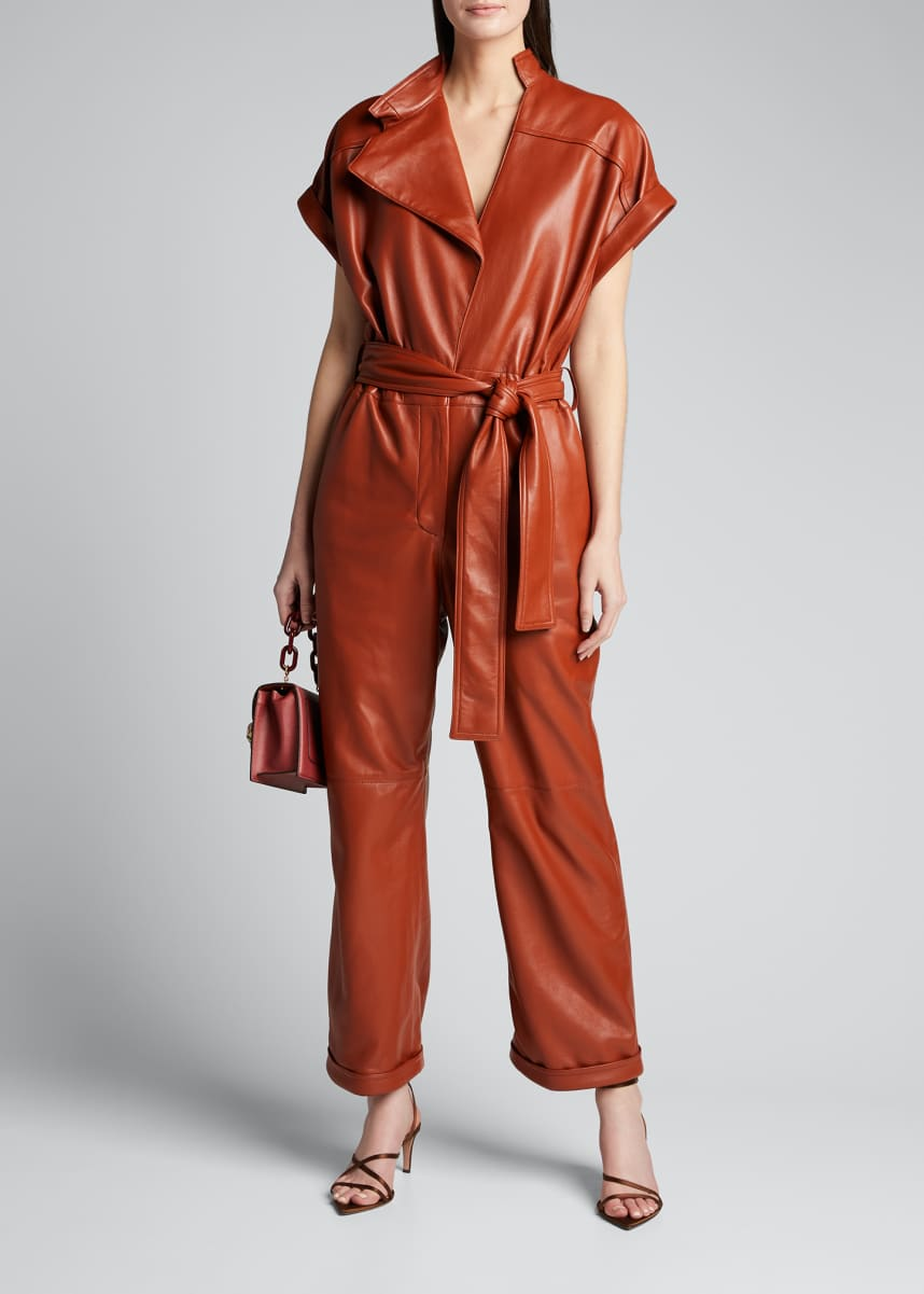 Oscar de la Renta Leather Cap-Sleeve Jumpsuit
