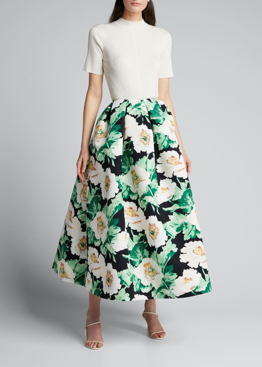 Oscar de la Renta Floral Print Full Party Skirt