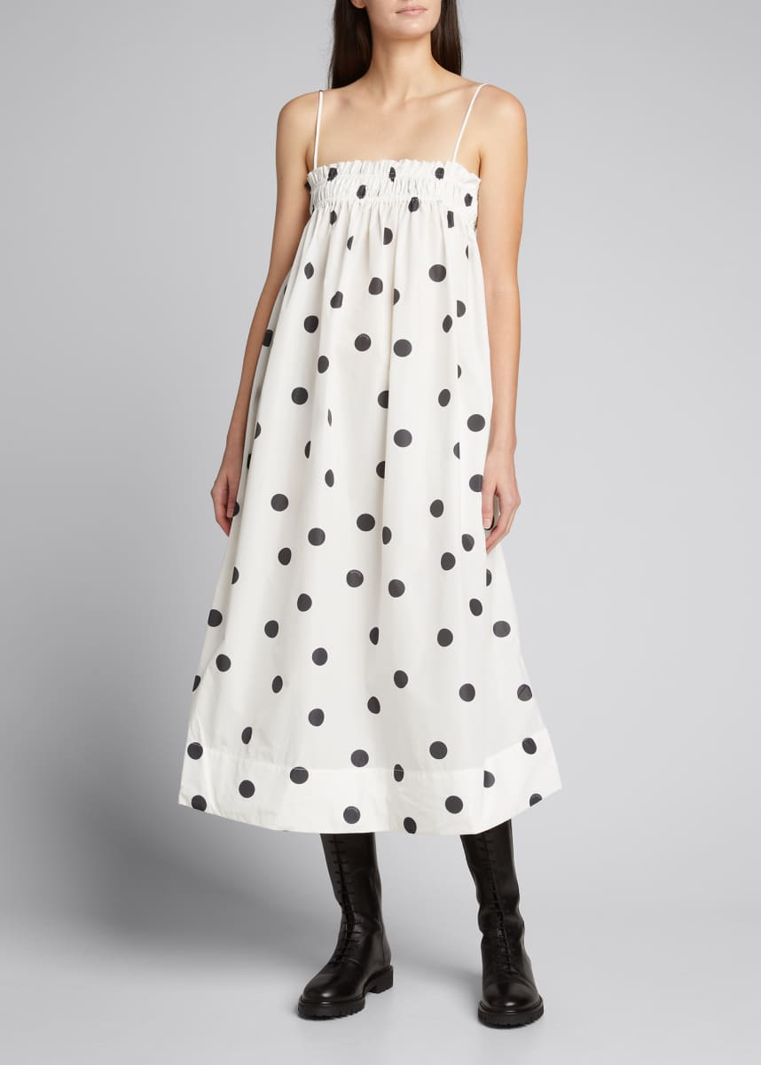 Ganni Polka-Dot Smocked Spaghetti-Strap Midi Dress