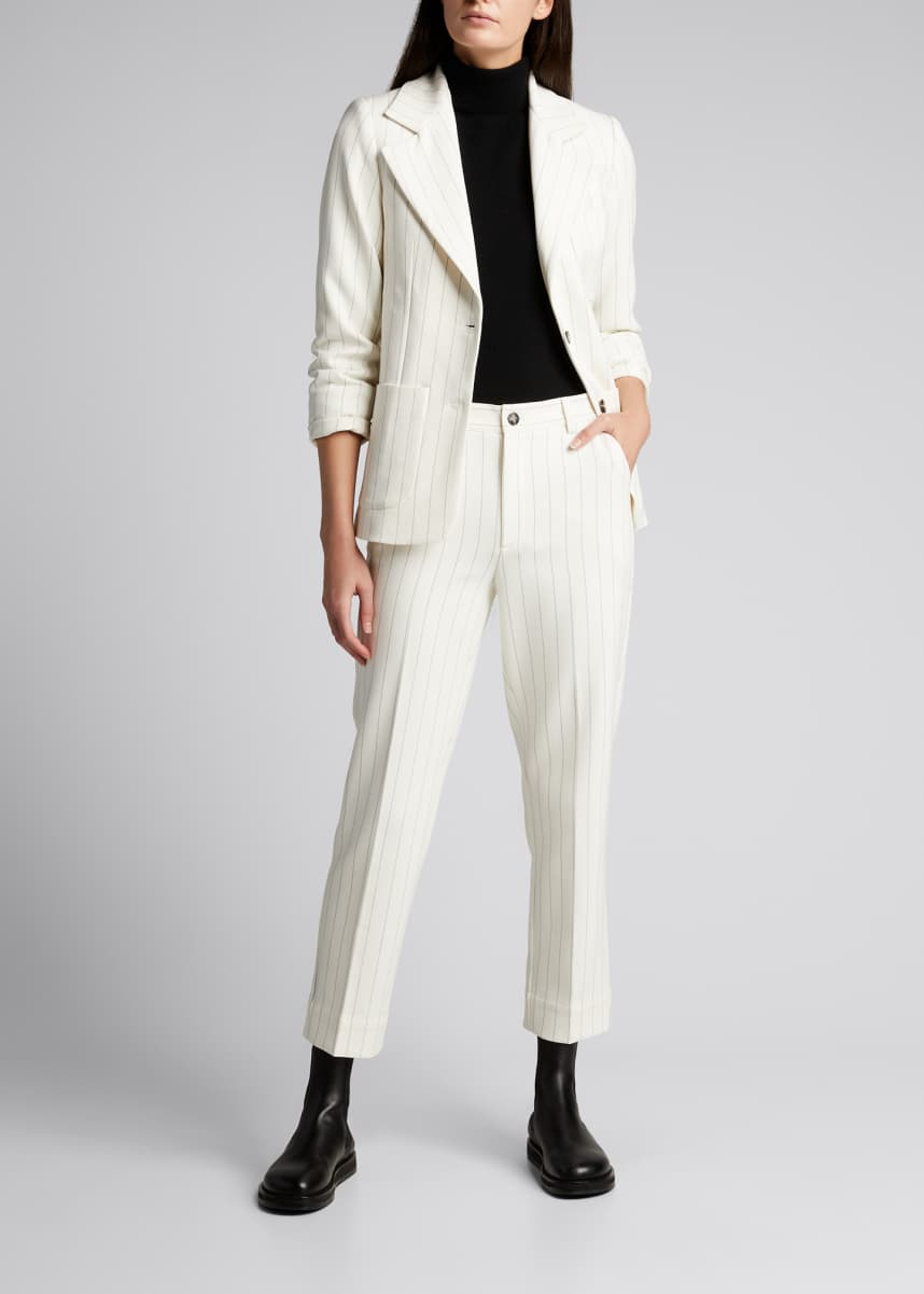 Ganni Structured Pinstripe Suiting Ankle Pants
