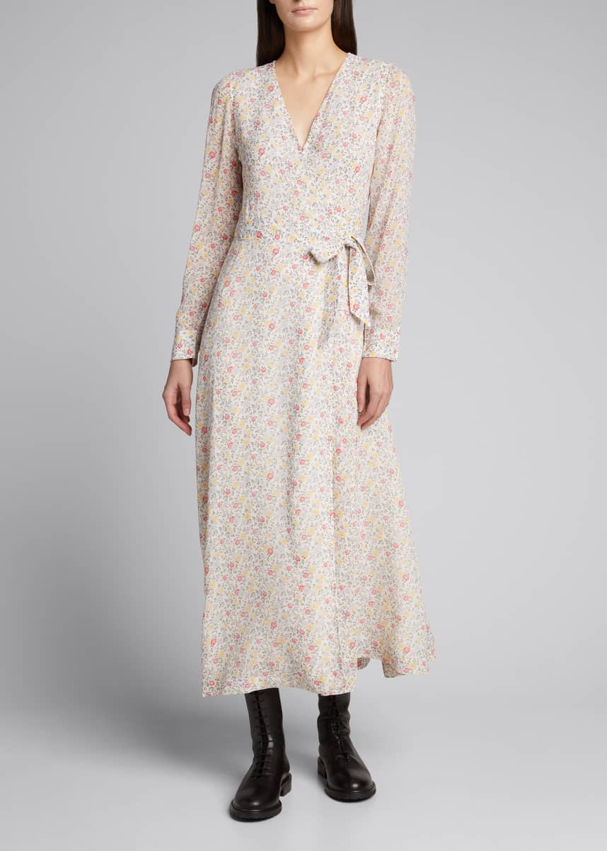 Ganni Floral Print Long-Sleeve Wrap Dress