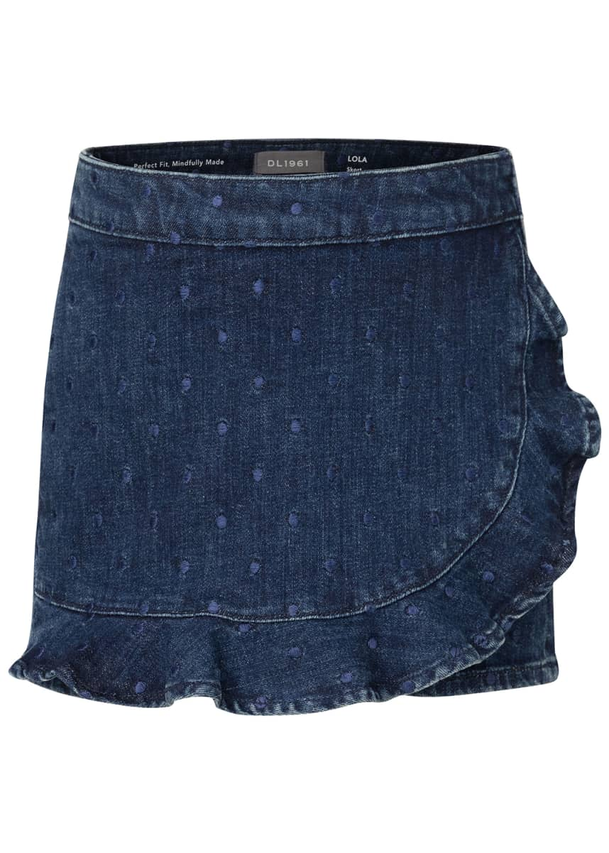 DL1961 Premium Denim Girl's Lola Clip Dot Ruffle-Hem Denim Skort, 2-6
