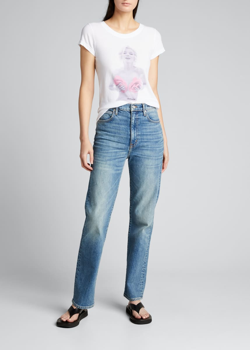 L'Agence Cory Scoop-Neck Graphic Tee
