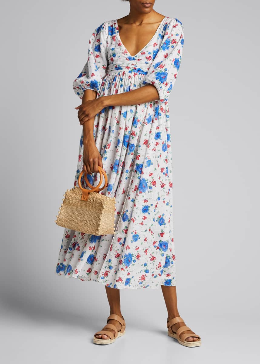 LoveShackFancy Roslyn Floral Print Smock-Back Dress