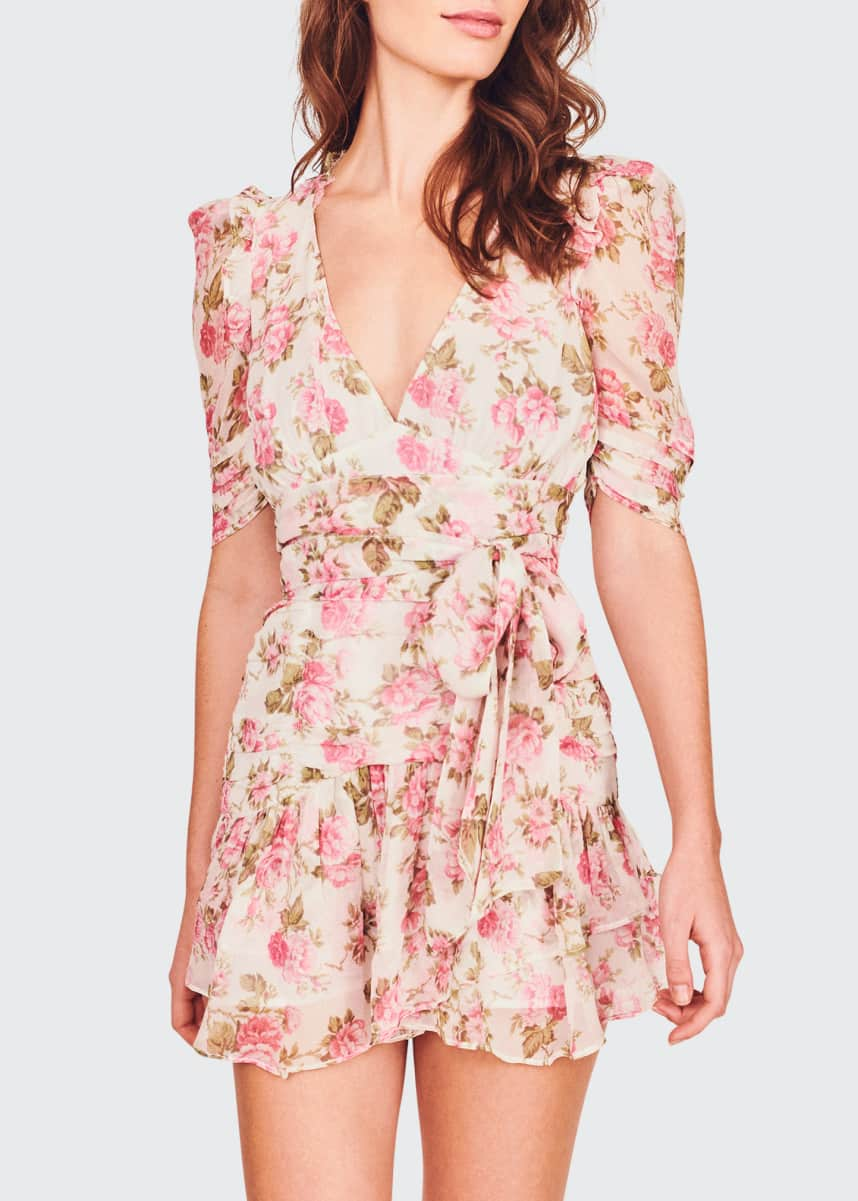 LoveShackFancy Arlo Floral Silk Tie-Waist Dress