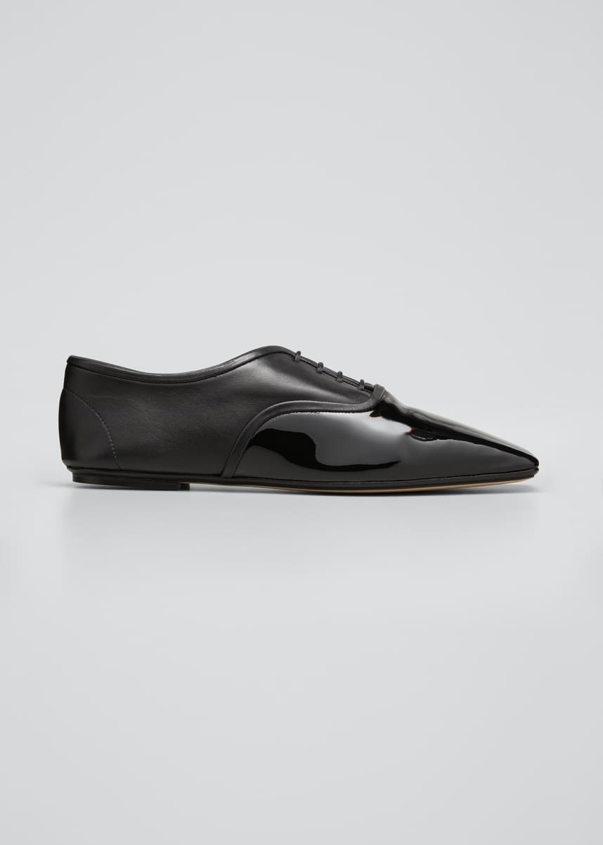 RODO Mixed Leather Square-Toe Loafers