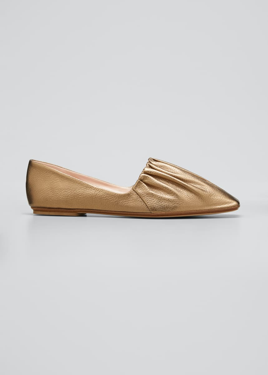 RODO Pleated Square-Toe Ballerina Flats
