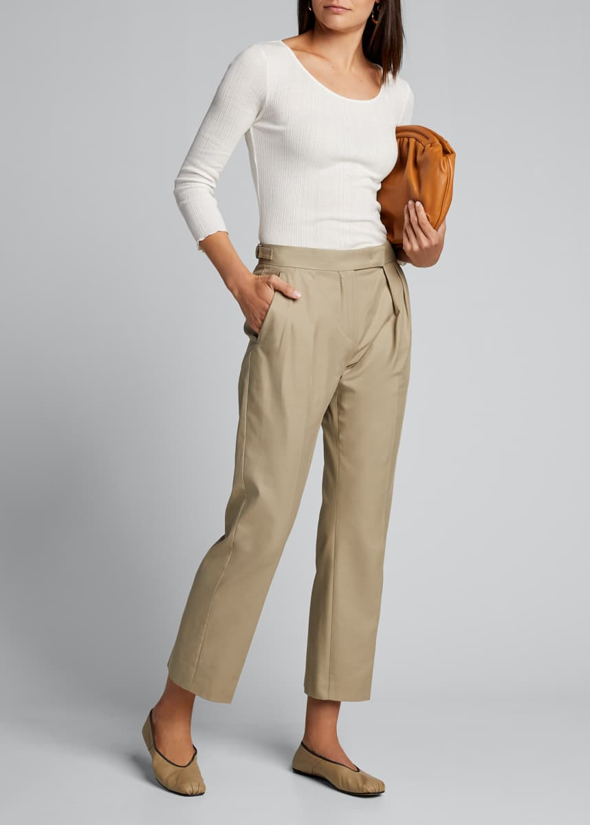 Vince Lettuce Edge Scoop-Neck Tee