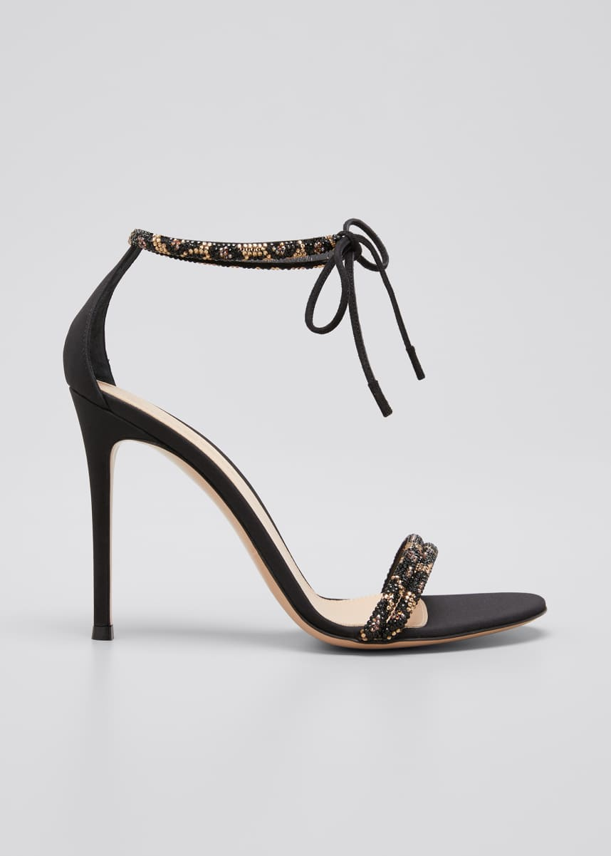 Gianvito Rossi Leo 105mm Beaded Ankle-Tie Sandals