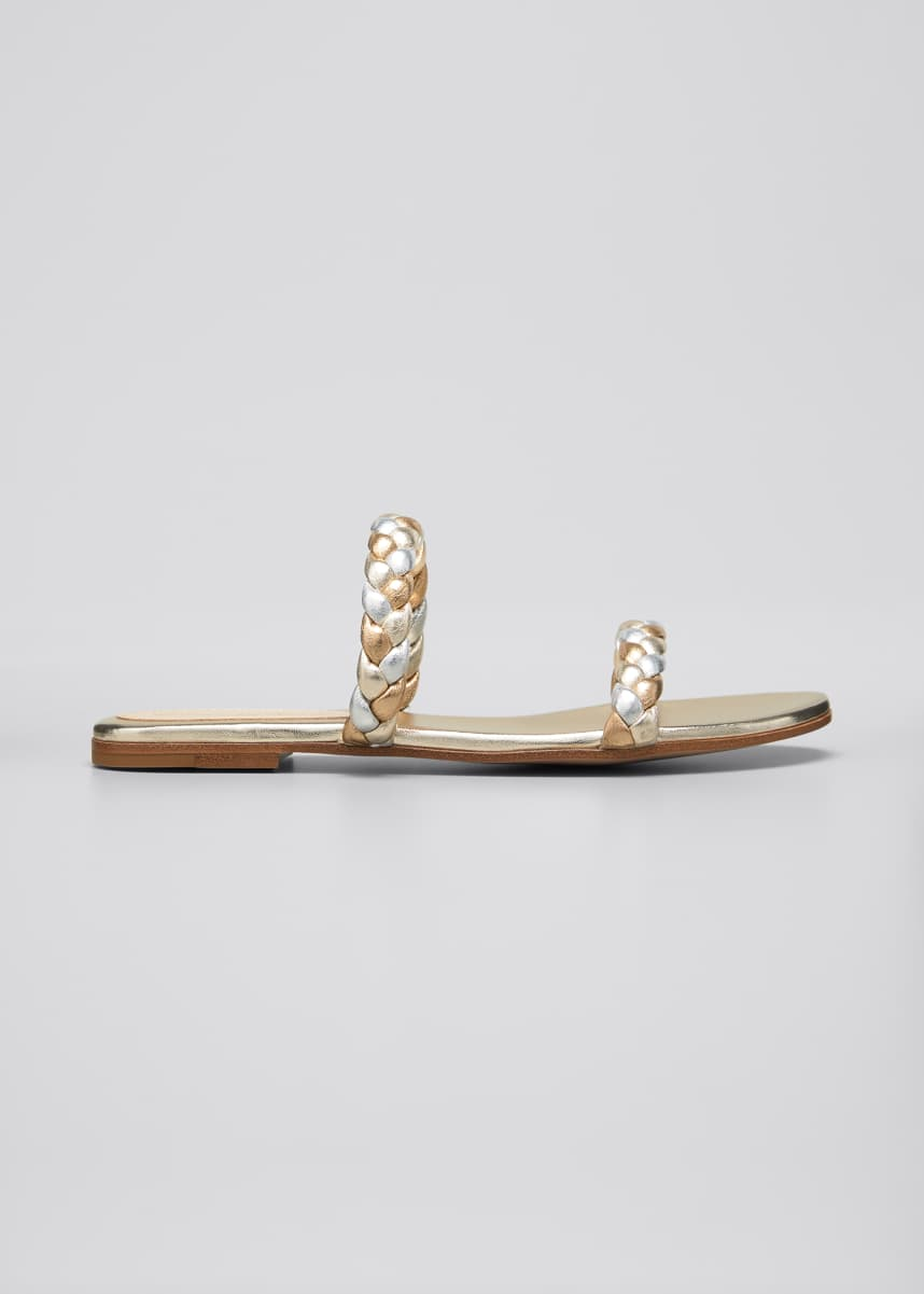 Gianvito Rossi Marley Flat Metallic Braided Two-Band Slide Sandals