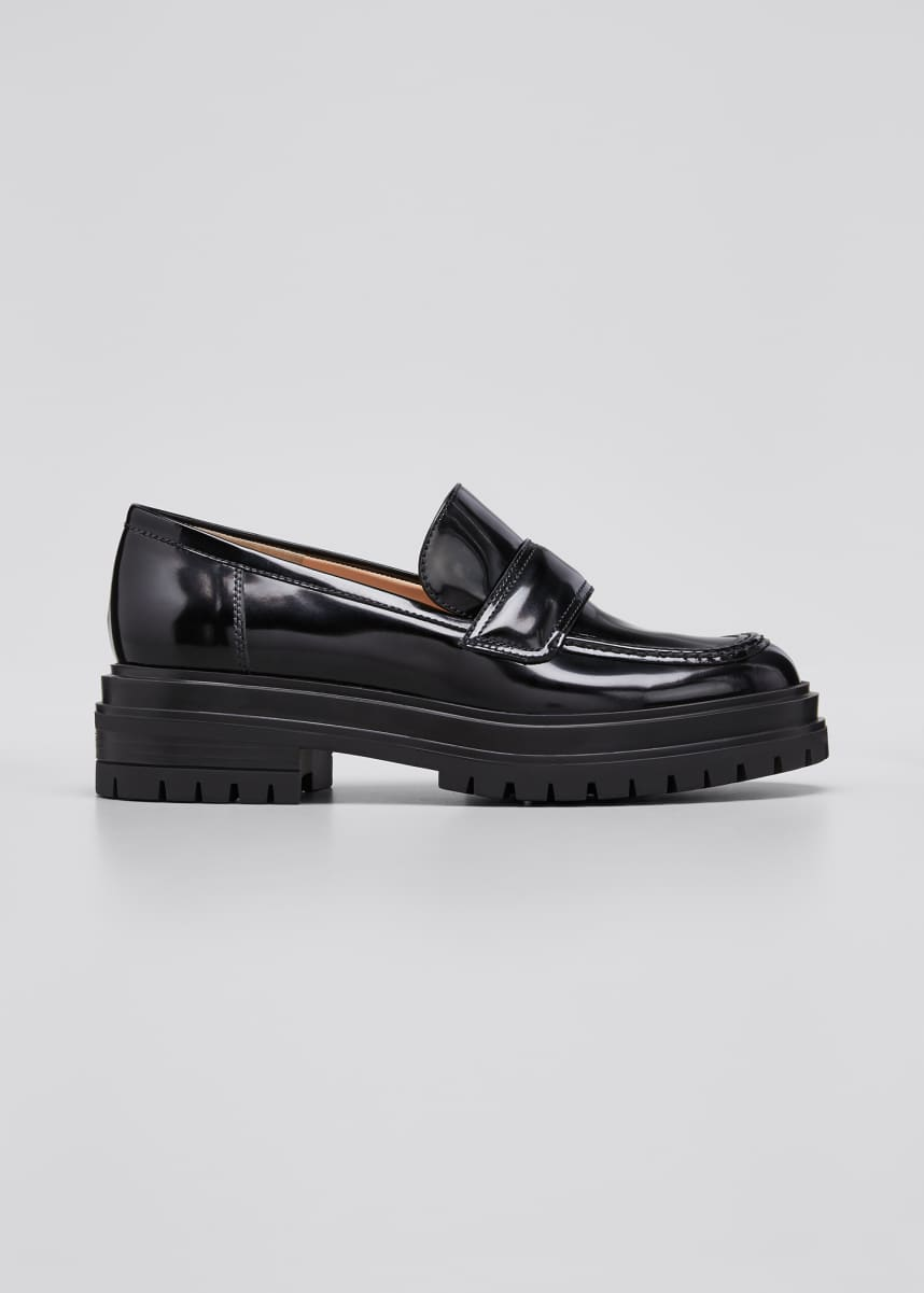 Gianvito Rossi 20mm Spazzolato Lug-Sole Loafers