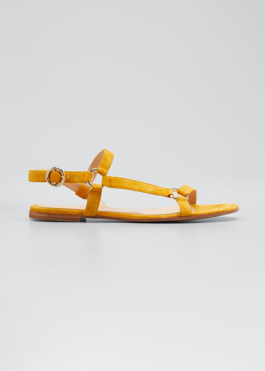 Gianvito Rossi Flat Suede Sandals with Ring Detail