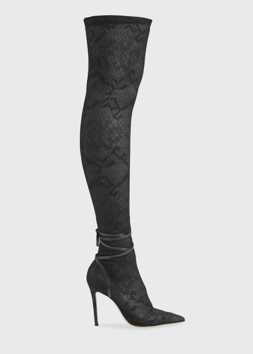 Gianvito Rossi Wildlace Over-the-Knee Sock Boots