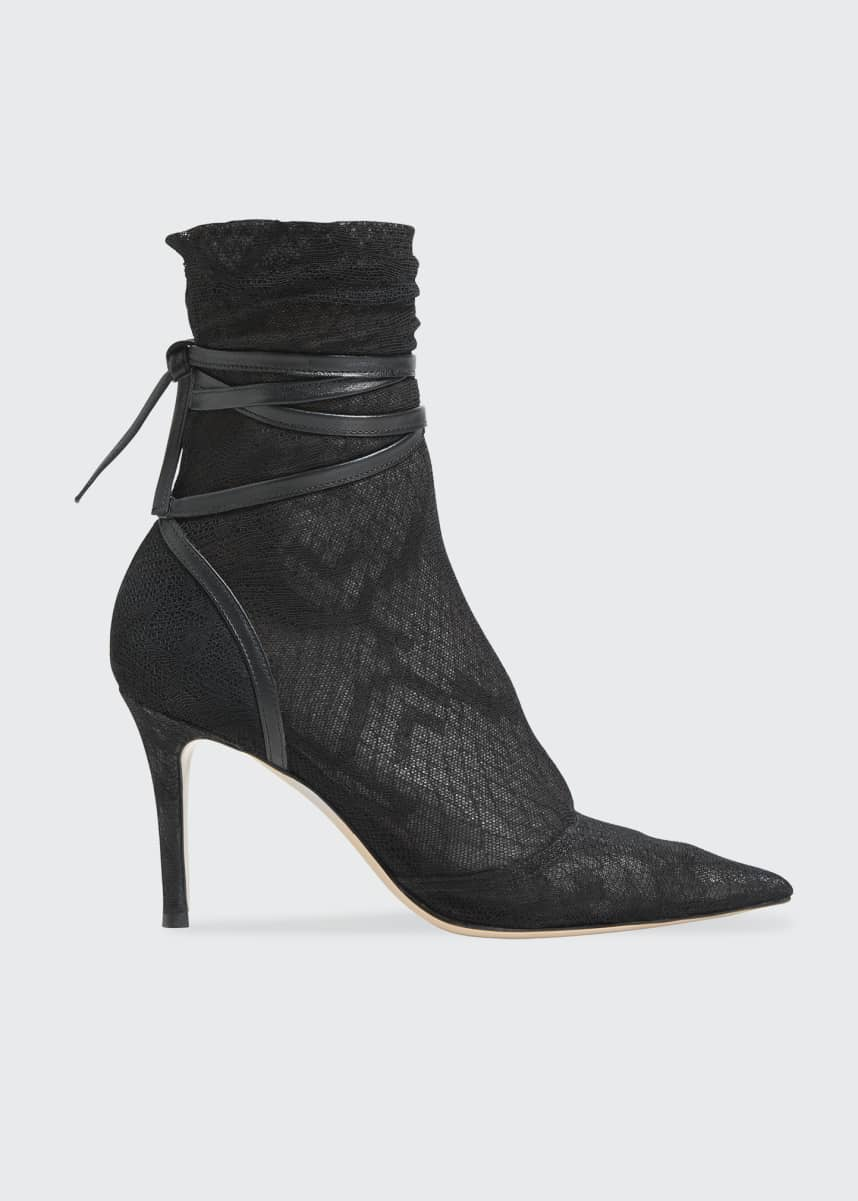 Gianvito Rossi Lace Sock Ankle-Tie Booties
