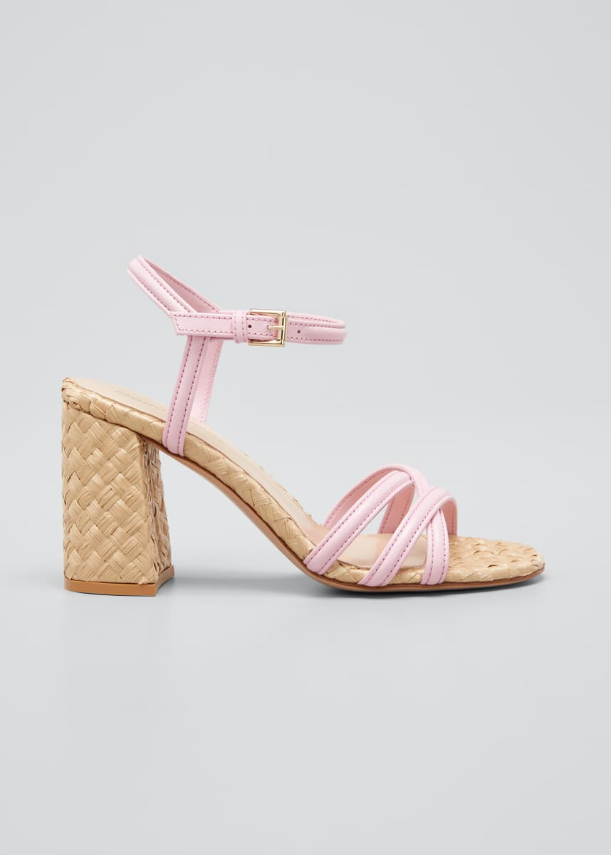 Gianvito Rossi 85mm Leather & Wicker Block-Heel Sandals