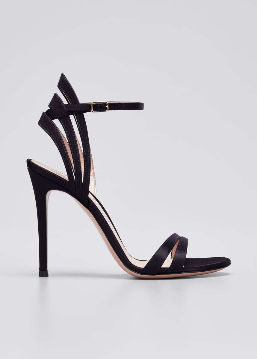 Gianvito Rossi 105mm Satin Sandals with Heel Detail