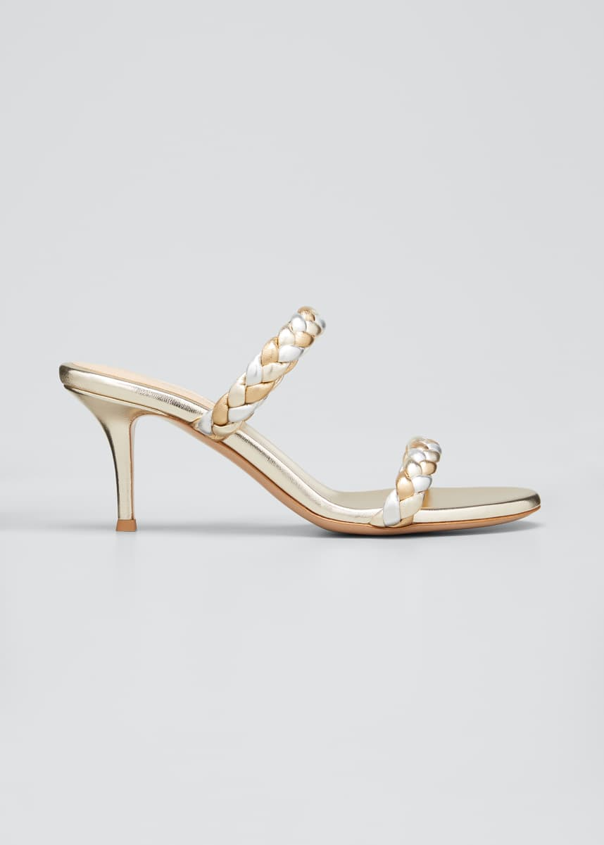 Gianvito Rossi 70mm Braided Metallic 2-Band Slide Sandals